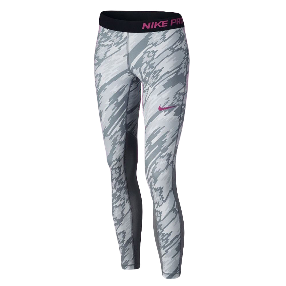 b4157ae186df0 Home   Children s   Girl s   Bottoms   Leggings   Nike Girls  Pro Tight Dri  Fit Grey Camouflage Leggings Size Medium 819731-043